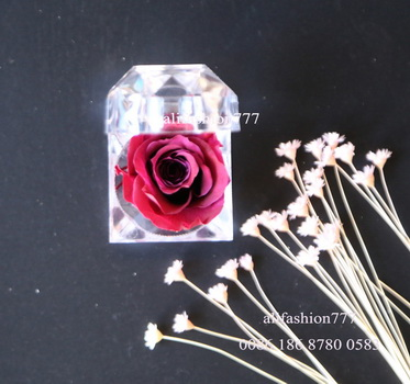 Preserved rose in Crystal Ring Box-16