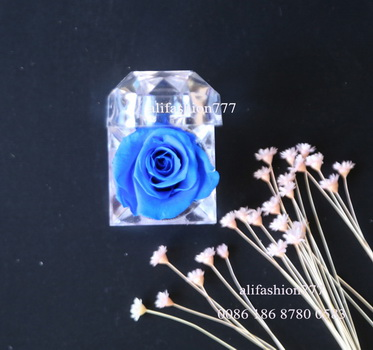 Preserved rose in Crystal Ring Box-11
